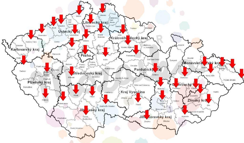 Mapka kurzů Altelieru Mozaika 2018