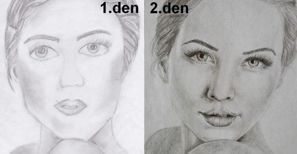 Kreslení pravou mozkovou hemisférou - první vs. druhý den